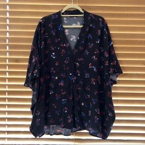 Hatch Collection The Notched Blouse Poly Floral OS